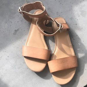 Express Tan Ankle Strap Sandals Size 9